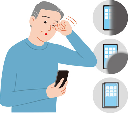 Illustration pour senior citizen who can not see clearly. - image libre de droit