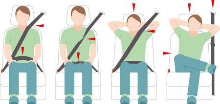Illustration pour A man who takes a seat belt. violation. - image libre de droit