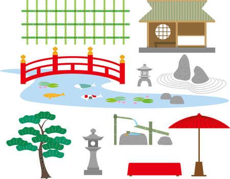 Ilustración de Japanese garden equipment material - Imagen libre de derechos