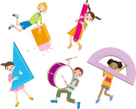Illustration pour Cheerful multiracial children with stationery - image libre de droit