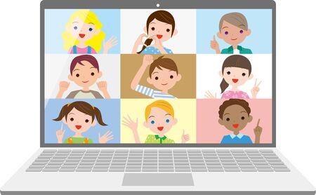 Illustration pour Children's online communication, class meetings - image libre de droit