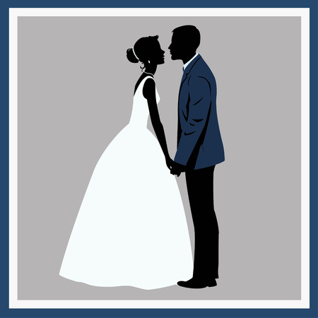 Silhouette Wedding couple in loveのイラスト素材