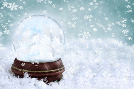 Magical snow globe with clouds and copy space inside.