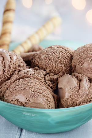 Bowl of rich chocolate ice cream with extreme shallow depth of field.