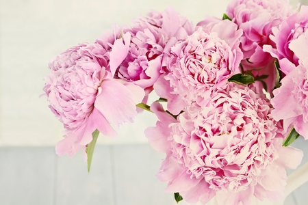 Photo for Closeup of peony flowers in a vase. - Royalty Free Image