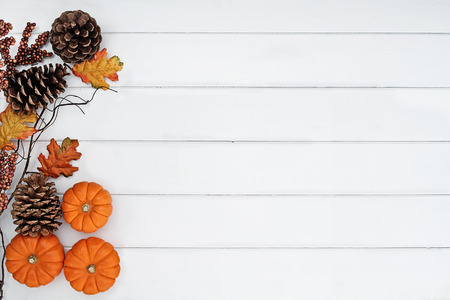 Photo pour Rustic fall background of autumn leaves, pine cones and mini pumpkins with free copy space for text over a white rustic background. Image shot from overhead. - image libre de droit
