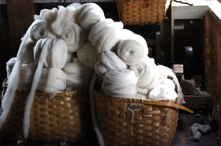 Baskets of Wool Rolls ready to be spun