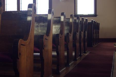 A row of Church pews