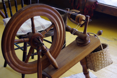 Old fashioned wooden spinning wheel