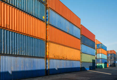 Photo for Stacking of Container cargo harbor. Business Logistics import export shipping concept. - Royalty Free Image
