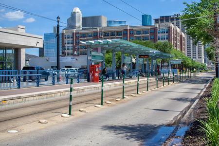 April 2017, Houston, Texas: Metro light rail station on Main Street near downtown Houston