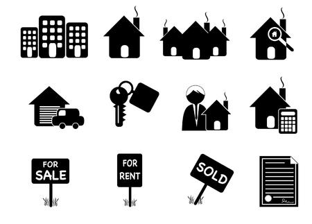 Retro real estate icons
