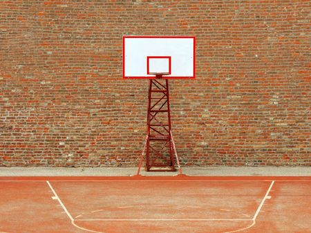 basketball hoop and a cage with laeves, sports background.