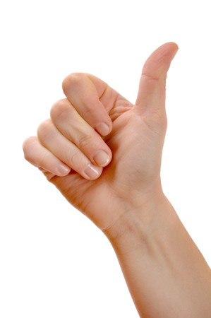 A thumbs up sign on a white background