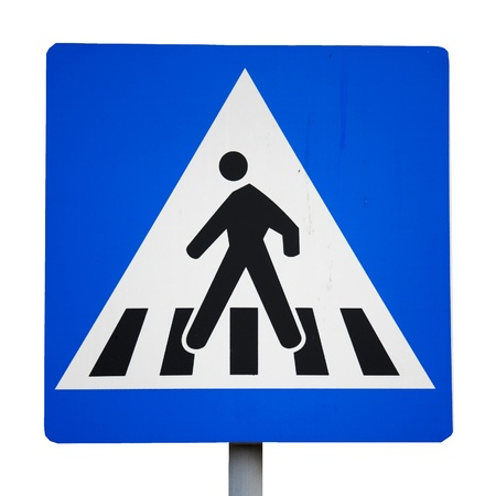 Photo for Old traffic sign. pedestrian crossing  - Royalty Free Image