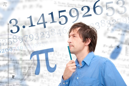 Portrait of a young scientist calculating Pi number