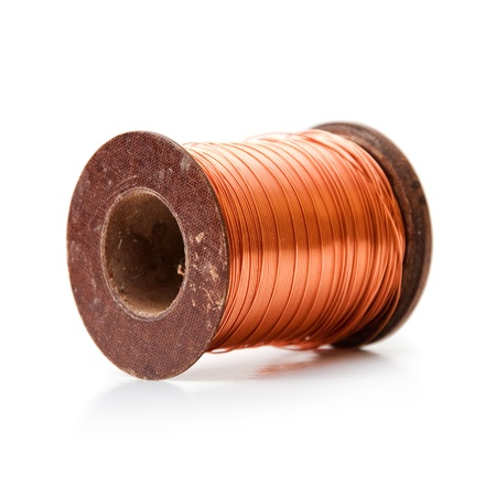 Copper wire rolled up on a spool