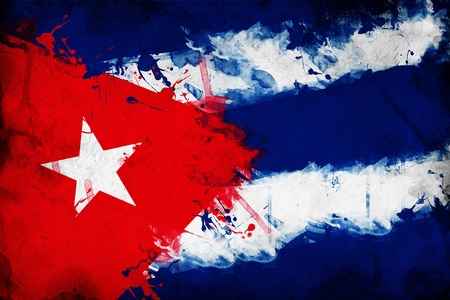 Grunge Cuban flag, image is overlaying a detailed grungy texture