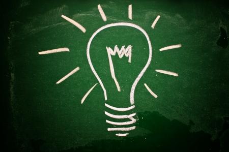 A lightbulb drawn on a green chalkboard symbolizing ideas, inspiration and creativity