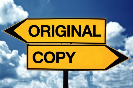 original or copy title on opposite direction street sign