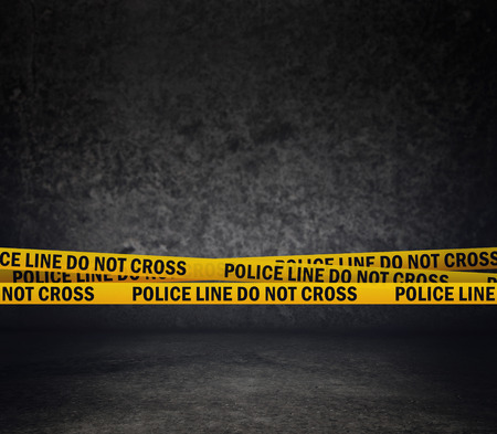 Photo for Police Line Do Not Cross Yellow Headband Tape  Murder Scene Police Ribbon  - Royalty Free Image