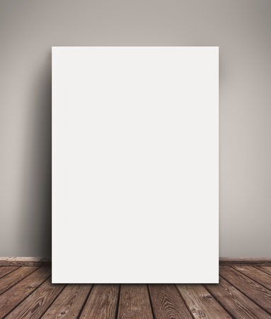 Blank Paper Poster Mock Up Leaning Against  Gray Wall as Copy Space for Design and Text.