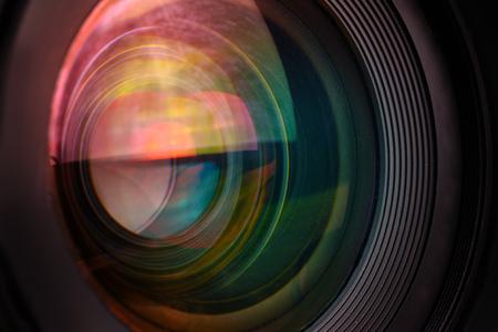 Photo camera wide lens front glass, macro shot