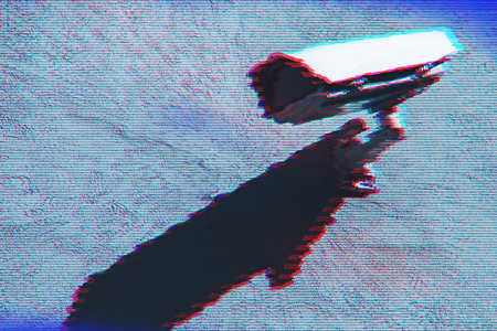 Surveillance camera with digital glitch effect and blank copy space