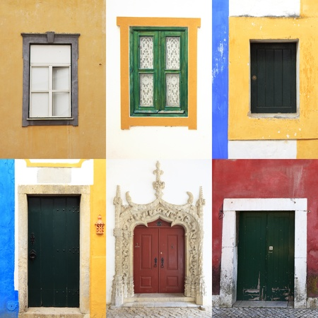 Six colorful windows and doors in  portugal. A collection of traditional and old portuguese urban walls