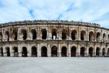 Nimes ancient Arenas, historic Roman amphitheater, Provence, Southern France, Europe