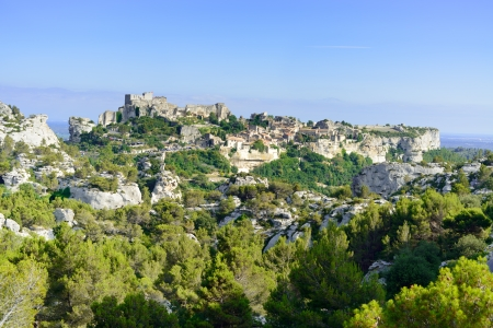 Les Baux de Provence village on the rock formation and its castle  France, Europe
