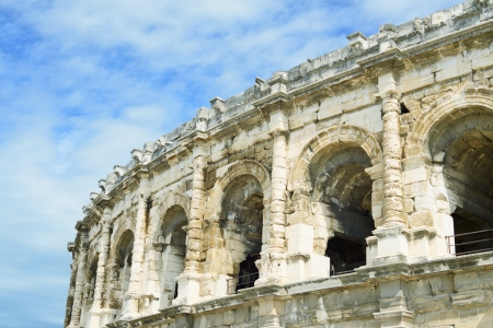 Nimes ancient Arenas detail, historic Roman amphitheater, Provence, Southern France, Europe