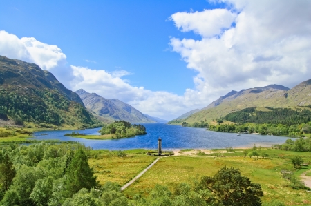 Glenfinnan Monument and Loch Shiel lake spring landscape  Lochaber, Highlands of Scotland, United Kingdom, Europe