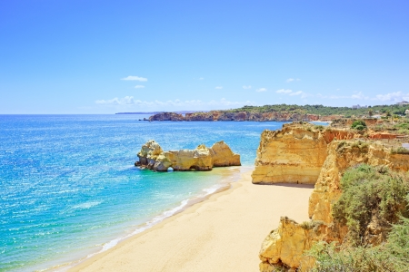 Beach and rock formation known as Praia da Rocha in travel destination Portimao  Algarve, Portugal, Europe