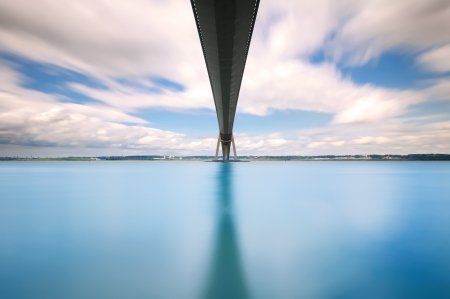 Normandy Bridge over the Seine river long exposure photography  Le Havre, France  In French Pont de Normandie