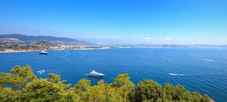Cannes and La Napoule panoramic sea bay view, yachts and boats  from Theoule sur Mer  French Riviera, Azure Coast or Cote d Azur, Provence, France