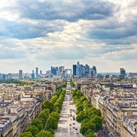 La Defense business area, La Grande Armee avenue  View from Arc de Triomphe  Paris, France, Europe