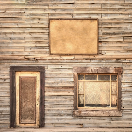 Western vintage ranch wooden facade background or pattern  Door, window and blank or empty board