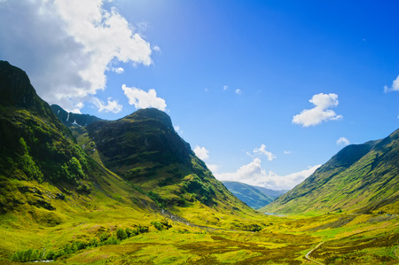 Photo pour Glencoe or Glen Coe mountains and pass, panoramic view landscape in Lochaber, Scottish Higlands,Scotland  UK  - image libre de droit