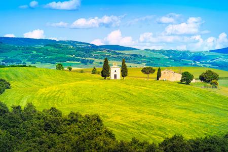 Tuscany, italian rural landscape, Vitaleta chapel, little church in Val d Orcia, Italy