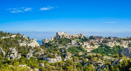 Les Baux de Provence village panoramic view. Provence Alpes Cote Azur, France, Europe.