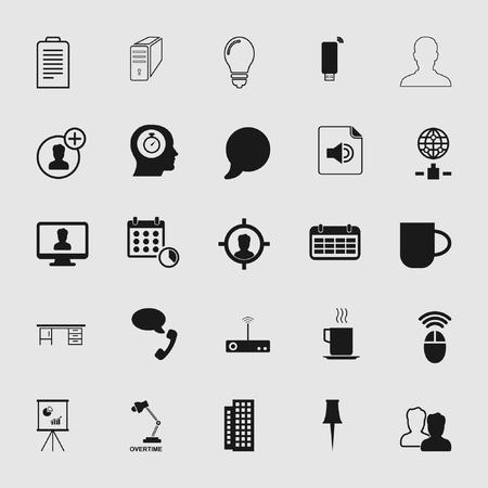 Ilustración de Set of standard and universal business and office icons - Imagen libre de derechos