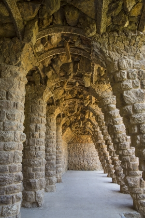 A subterranean grotto in Parc Guell in Barcelona in the Catalonia region of Spain