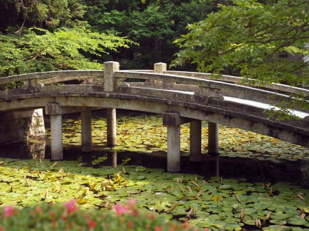 Bridge at Chion-in Temple in Higashiyama-ku, Kyoto, Japan is the headquarters of the Jodo-shu  Pure Land Sect  founded by Honen  1133–1212