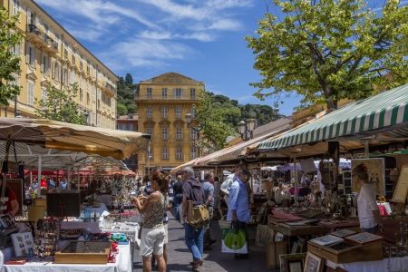 A busy street market in the port of Nice on the French Riviera in the South of France