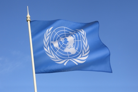 The flag of the United Nations was adopted on October 20, 1947, and consists of the official emblem of the United Nations in white on a pale blue background