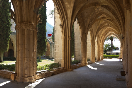 The ruins of the Gothic monastery at Bellapais  Abbaye de la Paix  in the Turkish Republic of Northern Cyprus