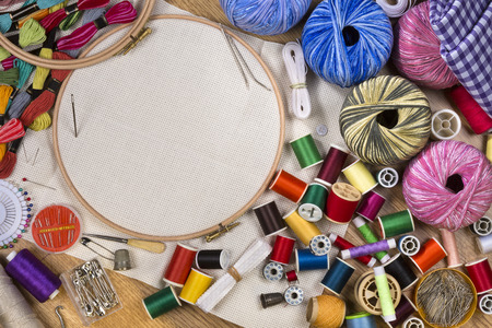 Photo pour Handicrafts - Sewing and Embroidery - with space for text - image libre de droit