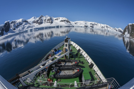 A Russian polar research vessel in Paradise Bay in Antarctica. (Photo taken with an ultrawide fisheye lens)
