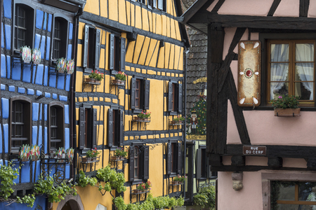 Riquewihr - Grand Est region of France. A popular tourist attraction for its historical architecture, Riquewihr looks today more or less as it did in the 16th century.